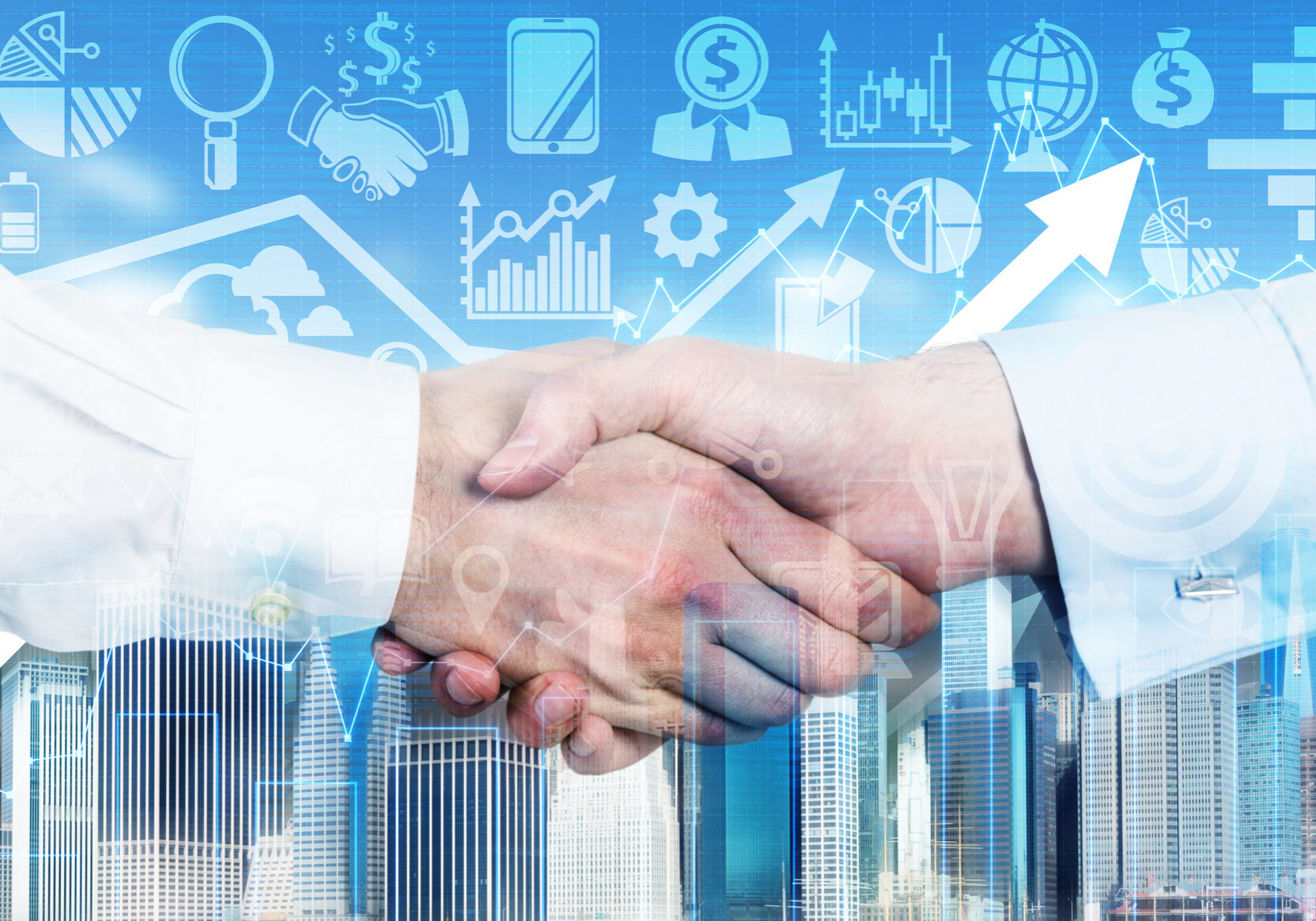 A handshake is over the growing arrow and business icons in blur on the background.